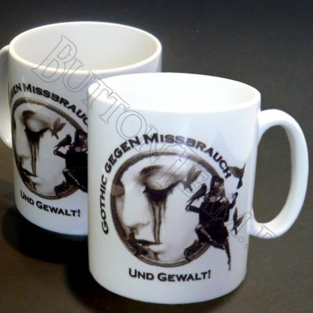 Tasse mit Logo Gothic gegen Missbrauch