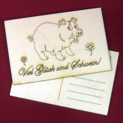 Holzpostkarte Glücksschwein