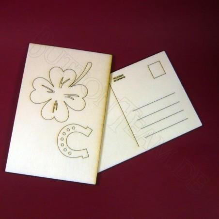 Holzpostkarte Glücksklee