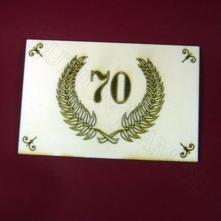 Holzpostkarte 70. Jubiläum