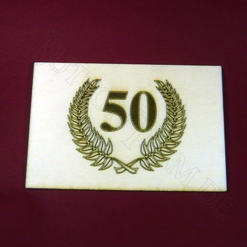 Holzpostkarte 50. Jubil?um