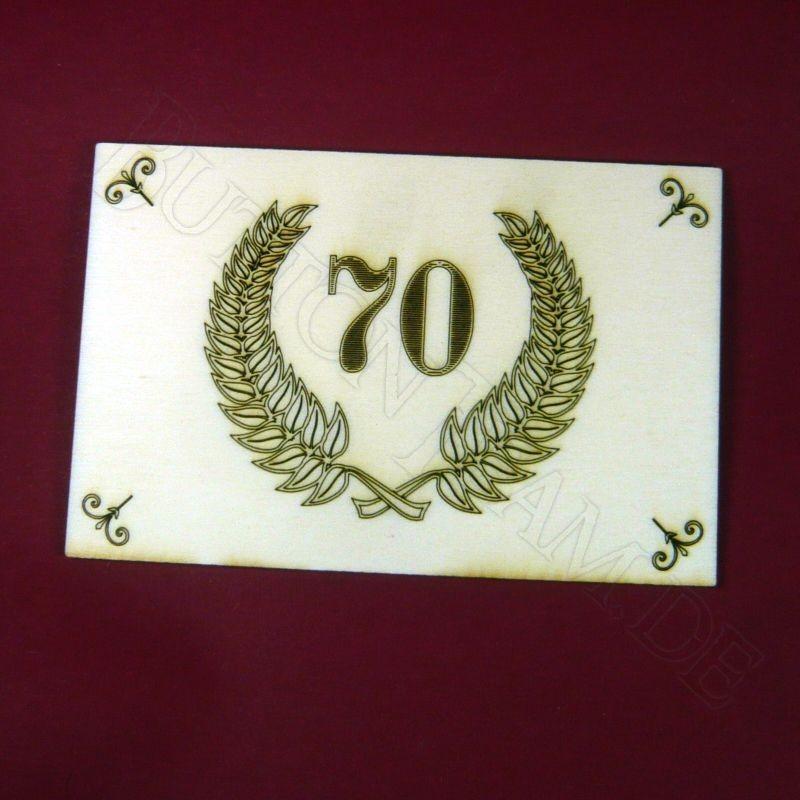 Holzpostkarte 70. Jubil?um