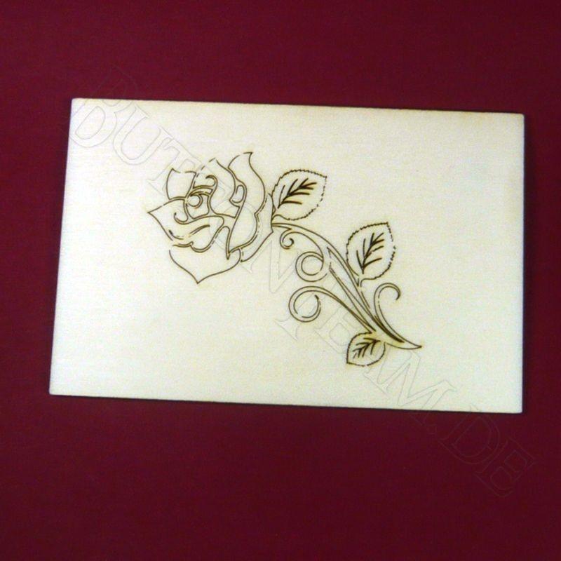 Holzpostkarte Rose 1