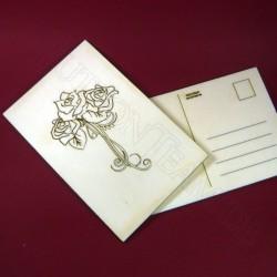 Holzpostkarte Rose 2