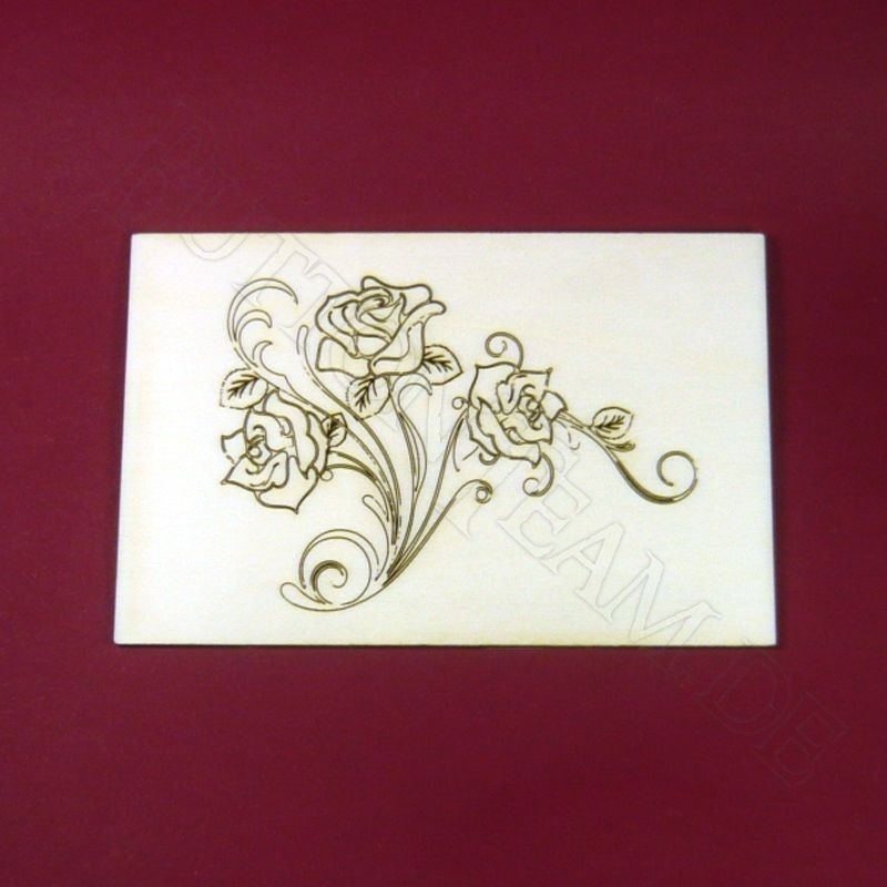 Holzpostkarte Rose 3