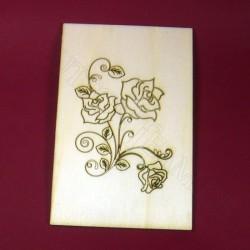 Holzpostkarte Rose 5